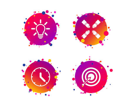 Lamp idea and clock time icons. Target aim sign. Darts board with arrow. Teamwork symbol. Gradient circle buttons with icons. Random dots design. Vector Ilustração