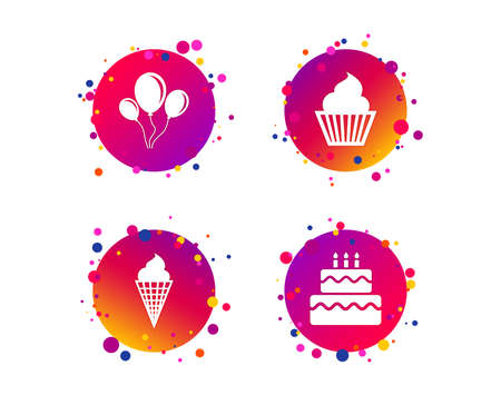 Birthday party icons. Cake with ice cream signs. Air balloons with rope symbol. Gradient circle buttons with icons. Random dots design. Vector Stock Illustratie