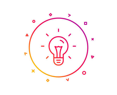 Idea line icon. Light bulb sign. Copywriting symbol. Gradient pattern line button. Idea icon design. Geometric shapes. Vector