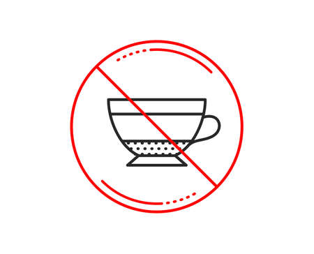 No or stop sign. Dry Cappuccino coffee icon. Hot drink sign. Beverage symbol. Caution prohibited ban stop symbol. No  icon design.  Vector