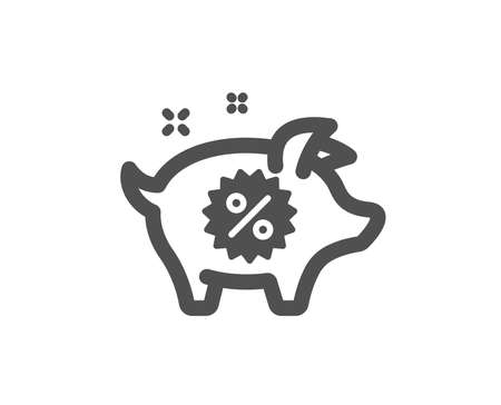 Piggy sale icon. Shopping discount sign. Clearance symbol. Quality design element. Classic style icon. Vector Illustration