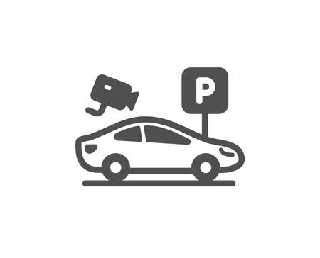 Parking with video monitoring icon. Car park sign. Transport place symbol. Quality design element. Classic style icon. Vector Ilustração