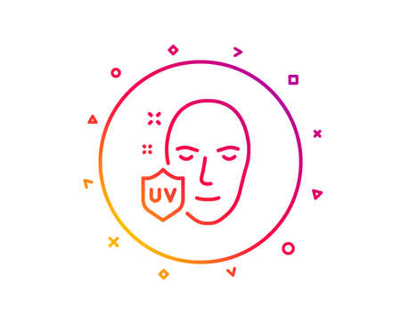 UV protection line icon. Skin care sign. Healthy face symbol. Gradient pattern line button. UV protection icon design. Geometric shapes. Vector 矢量图像