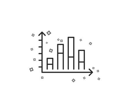 Diagram graph line icon. Column chart sign. Market analytics symbol. Geometric shapes. Random cross elements. Linear Diagram graph icon design. Vector  イラスト・ベクター素材