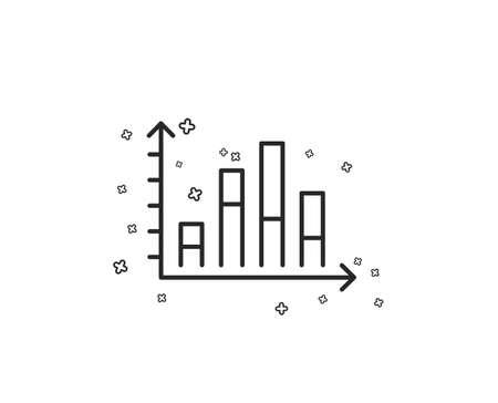 Diagram graph line icon. Column chart sign. Market analytics symbol. Geometric shapes. Random cross elements. Linear Diagram graph icon design. Vector 일러스트