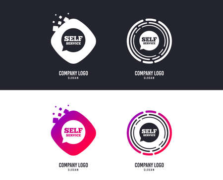 Logotype concept. Self service sign icon. Maintenance symbol in speech bubble. Logo design. Colorful buttons with icons. Vector