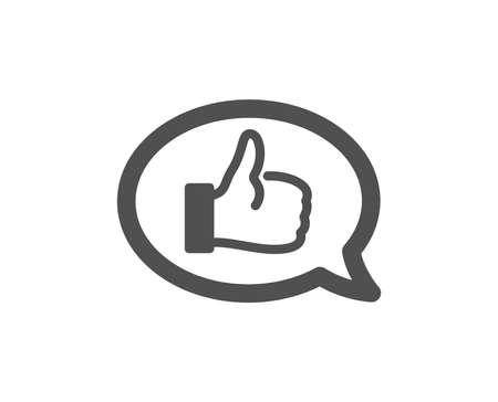 Positive feedback icon. Communication symbol. Speech bubble sign. Quality design element. Classic style icon. Vector Banque d'images - 126675422
