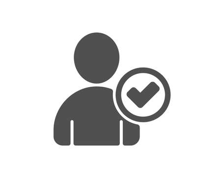 Checked User icon. Profile Avatar with Tick sign. Person silhouette symbol. Quality design element. Classic style icon. Vector Reklamní fotografie - 126675431