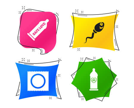 Safe sex love icons. Condom in package symbol. Sperm sign. Fertilization or insemination. Heart symbol. Geometric colorful tags. Banners with flat icons. Trendy design. Vector