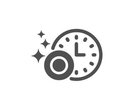 Afwassen met tijdpictogram. Vaatwasser teken. Schoon servies teken. Kwaliteitsontwerpelement. Klassieke stijlicoon. Vector