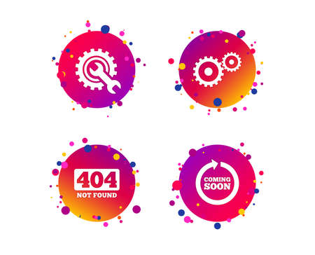 Coming soon rotate arrow icon. Repair service tool and gear symbols. Wrench sign. 404 Not found. Gradient circle buttons with icons. Random dots design. Vector