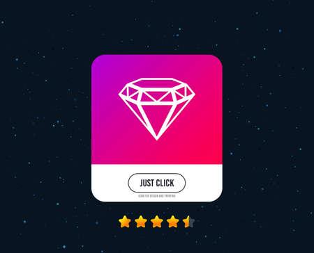 Diamond sign icon. Jewelry symbol. Gem stone. Web or internet icon design. Rating stars. Just click button. Vector