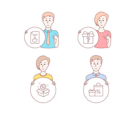 People hand drawn style. Set of Secret gift, Sale and Approved document icons. Shopping sign. Unknown package, Discount, Like symbol. Gifts and sales.  Character hold circle button. Man with like hand