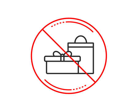No or stop sign. Gift box with bag line icon. Present or Sale sign. Birthday Shopping symbol. Package in Gift Wrap. Caution prohibited ban stop symbol. No  icon design.  Vector