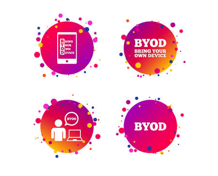 BYOD icons. Human with notebook and smartphone signs. Speech bubble symbol. Gradient circle buttons with icons. Random dots design. Vector  イラスト・ベクター素材