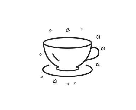Tea cup line icon. Coffee drink sign. Fresh beverage symbol. Geometric shapes. Random cross elements. Linear Espresso icon design. Vector