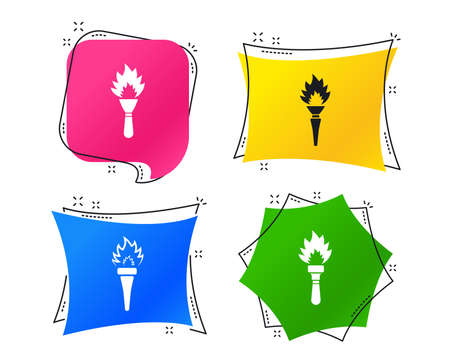 Torch flame icons. Fire flaming symbols. Hand tool which provides light or heat. Geometric colorful tags. Banners with flat icons. Trendy design. Vector