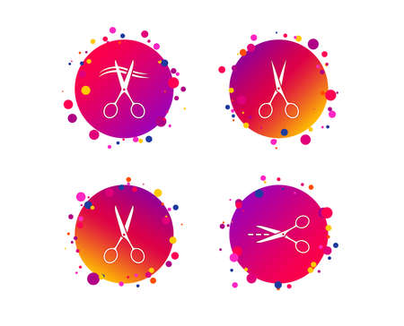 Scissors icons. Hairdresser or barbershop symbol. Scissors cut hair. Cut dash dotted line. Tailor symbol. Gradient circle buttons with icons. Random dots design. Vector Illustration