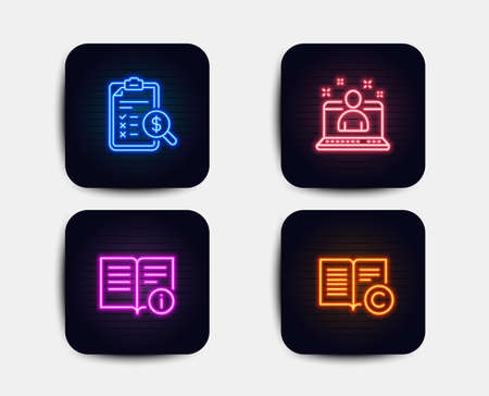 Neon glow lights. Set of Best manager, Accounting report and Technical info icons. Copyright sign. Best developer, Check finance, Documentation. Copywriting book.  Neon icons. Glowing light banners