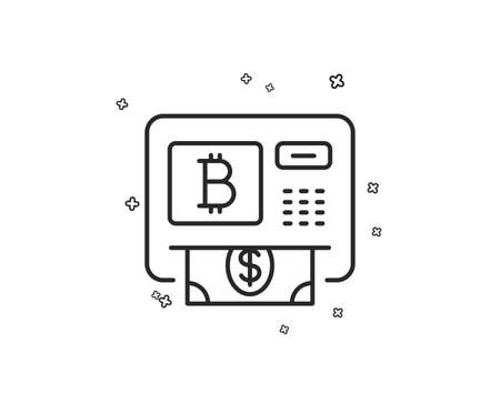 Bitcoin ATM line icon. Cryptocurrency cash sign. Dollar money symbol. Geometric shapes. Random cross elements. Linear Bitcoin atm icon design. Vector