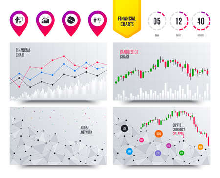 Financial planning charts. Diagram graph Pie chart icon. Presentation billboard symbol. Man standing with pointer sign. Cryptocurrency stock market graphs icons. Trendy design. Vector Stock Illustratie