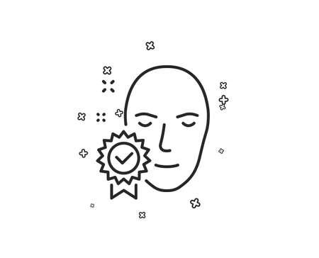 Face verified line icon. Access granted sign. Facial identification success symbol. Geometric shapes. Random cross elements. Linear Face verified icon design. Vector Reklamní fotografie - 126565418