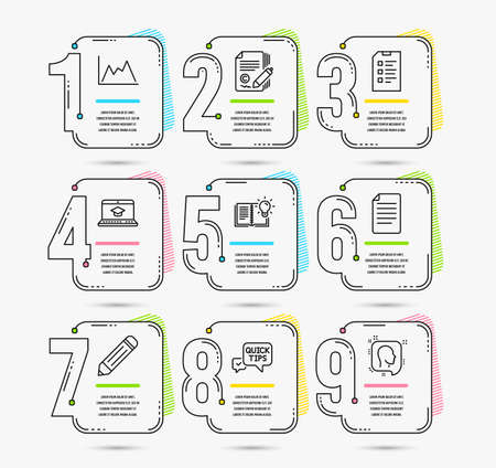Infographic timeline set of Copywriting, Quick tips and Product knowledge icons. File, Website education and Diagram signs. Checklist, Pencil and Head symbols. Vector