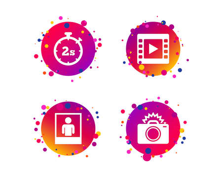 Photo camera icon. Flash light and video frame symbols. Stopwatch timer 2 seconds sign. Human portrait photo frame. Gradient circle buttons with icons. Random dots design. Vector