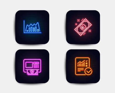 Neon set of Infographic graph, Atm and Euro money icons. Checked calculation sign. Line diagram, Money withdraw, Cash. Statistical data. Neon icons. Glowing light banners. Vector Ilustrace