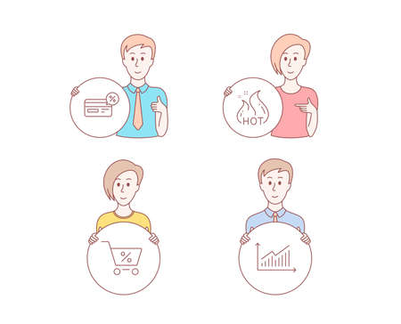 People hand drawn style. Set of Hot sale, Cashback and Special offer icons. Graph sign. Shopping flame, Non-cash payment, Discounts. Presentation diagram.  Character hold circle button. Vector Иллюстрация
