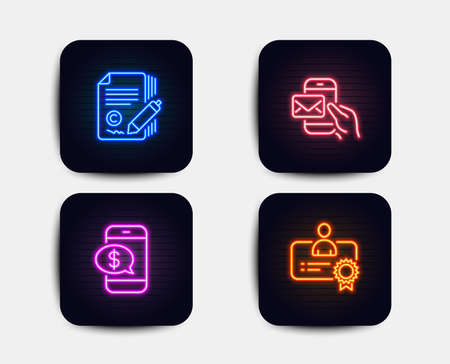 Neon glow lights. Set of Copywriting, Messenger mail and Phone payment icons. Certificate sign. Ð¡opyright signature, New e-mail, Mobile pay. Best employee.  Neon icons. Glowing light banners. Vector