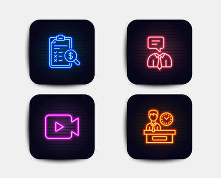 Neon glow lights. Set of Support service, Accounting report and Video camera icons. Presentation time sign. Human talking, Check finance, Movie or cinema. Report.  Neon icons. Glowing light banners Illustration