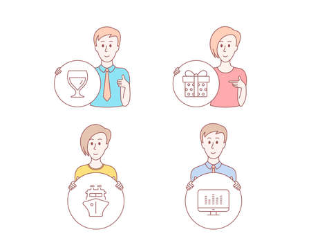 People hand drawn style. Set of Gift box, Ship and Wine glass icons. Music making sign. Present package, Shipping watercraft, Cabernet wineglass. Dj app.  Character hold circle button. Vector Ilustração