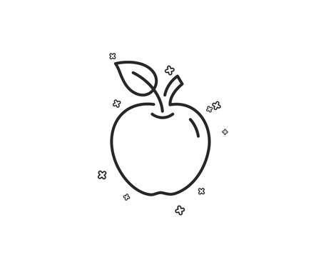 Apple line icon. Fresh fruit sign. Natural food symbol. Geometric shapes. Random cross elements. Linear Apple icon design. Vector Çizim