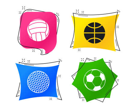 Sport balls icons. Volleyball, Basketball, Soccer and Golf signs. Team sport games. Geometric colorful tags. Banners with flat icons. Trendy design. Vector
