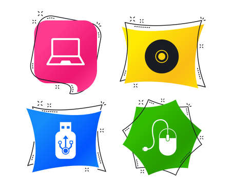 Notebook pc and Usb flash drive stick icons. Computer mouse and CD or DVD sign symbols. Geometric colorful tags. Banners with flat icons. Trendy design. Vector Archivio Fotografico - 126565444