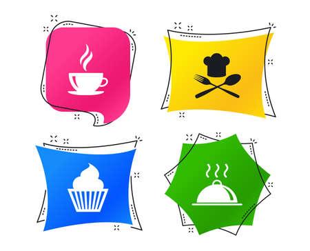 Symbole für Essen und Trinken. Muffin-Cupcake-Symbol. Gabel und Löffel mit Kochmützenzeichen. Heiße Kaffeetasse. Servieren von Essensplatten. Geometrische bunte Tags. Banner mit flachen Symbolen. Trendiges Design. Vektor Vektorgrafik