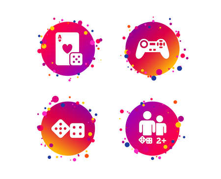 Gamer icons. Board games players signs. Video game joystick symbol. Casino playing card. Gradient circle buttons with icons. Random dots design. Vector Foto de archivo - 114430570