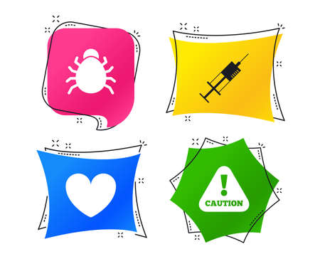 Bug and vaccine syringe injection icons. Heart and caution with exclamation sign symbols. Geometric colorful tags. Banners with flat icons. Trendy design. Vector