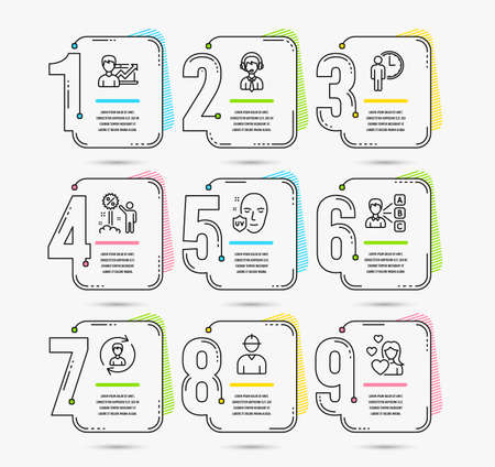 Infographic timeline set of Success business, Human resources and Engineer icons. Opinion, Uv protection and Waiting signs. Discount, Shipping support and Love symbols. Vector  イラスト・ベクター素材
