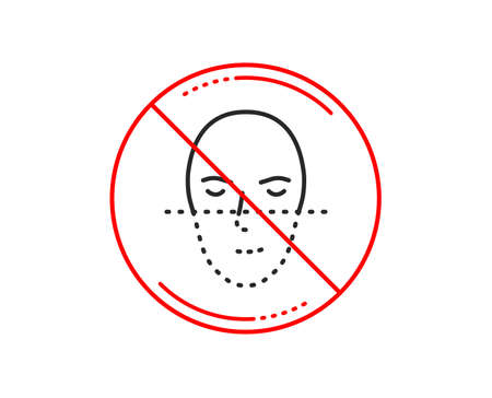 No or stop sign. Face recognition line icon. Faces biometrics sign. Head scanning symbol. Caution prohibited ban stop symbol. No  icon design.  Vector