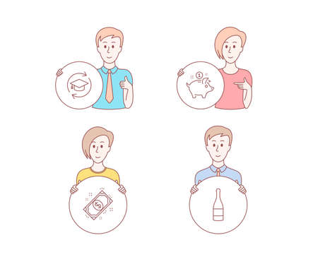 People hand drawn style. Set of Saving money, Payment and Continuing education icons. Champagne bottle sign. Piggy bank, Finance, Online education. Anniversary alcohol.  Character hold circle button Illustration