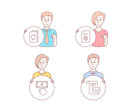People hand drawn style. Set of Payment click, File settings and Update document icons. Mail letter sign. Financial transfer, File management, Read e-mail.  Character hold circle button. Vector