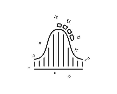 Roller coaster line icon. Amusement park sign. Carousels symbol. Geometric shapes. Random cross elements. Linear Roller coaster icon design. Vector