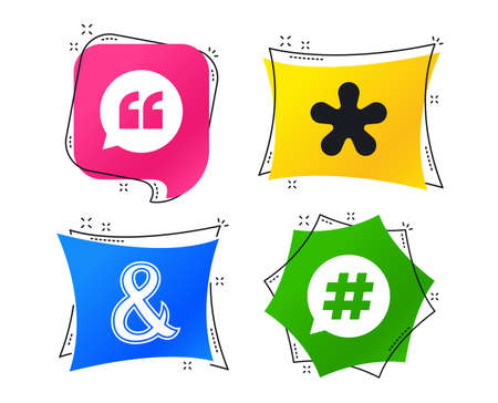 Quote, asterisk footnote icons. Hashtag social media and ampersand symbols. Programming logical operator AND sign. Speech bubble. Geometric colorful tags. Banners with flat icons. Trendy design
