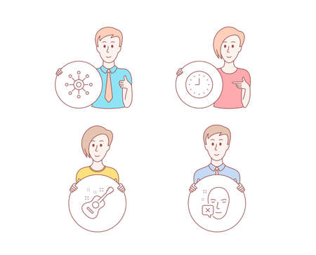 People hand drawn style. Set of Clock, Guitar and Multichannel icons. Face declined sign. Time or watch, Acoustic instrument, Multitasking. Identification error.  Character hold circle button. Vector