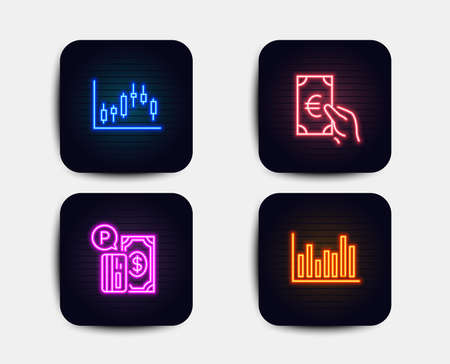Neon set of Candlestick graph, Finance and Parking payment icons. Bar diagram sign. Finance chart, Eur cash, Paid garage. Statistics infochart. Neon icons. Glowing light banners. Vector