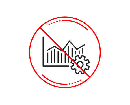 No or stop sign. Operational excellence line icon. Cogwheel sign. Caution prohibited ban stop symbol. No  icon design.  Vector