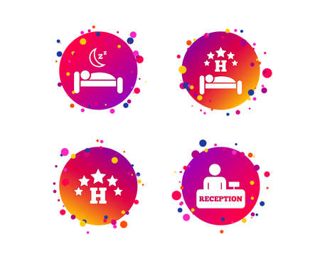 Five stars hotel icons. Travel rest place symbols. Human sleep in bed sign. Hotel check-in registration or reception. Gradient circle buttons with icons. Random dots design. Vector