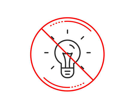 No or stop sign. Idea line icon. Light bulb sign. Copywriting symbol. Caution prohibited ban stop symbol. No  icon design.  Vector